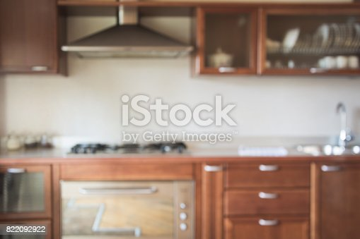 834157738istockphoto Blurred background. Modern kitchen with bokeh light. 822092922