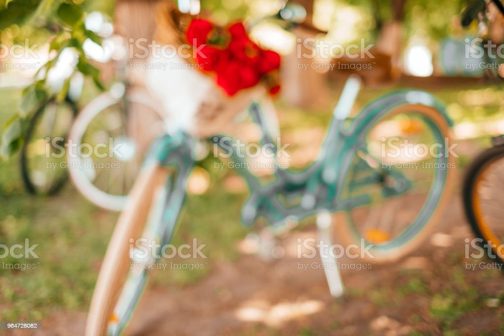 Blurred background of bicycles royalty-free stock photo
