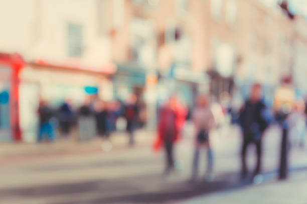 blurred background of Crowded street in Cambridge, UK stock photo