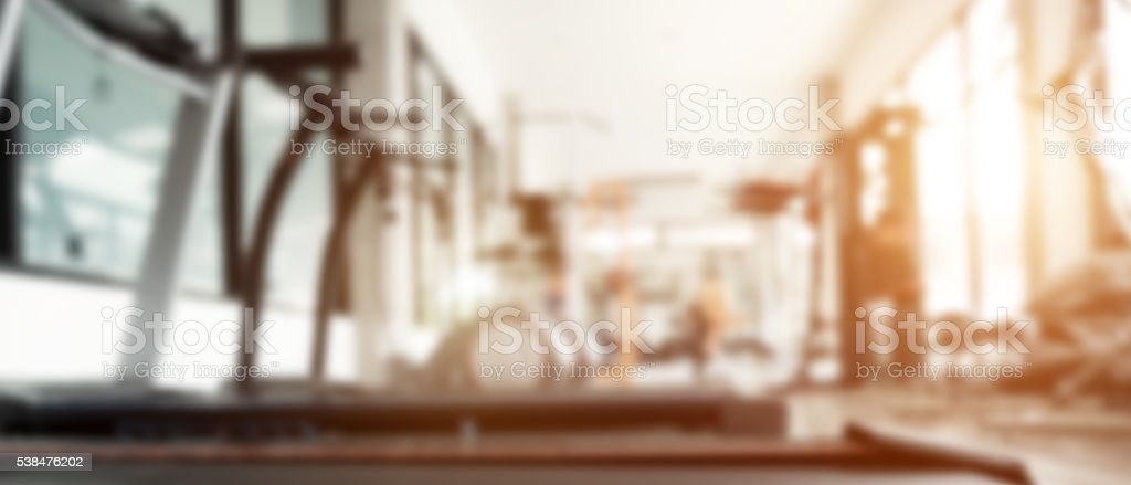 Blurred background of gym. stock photo