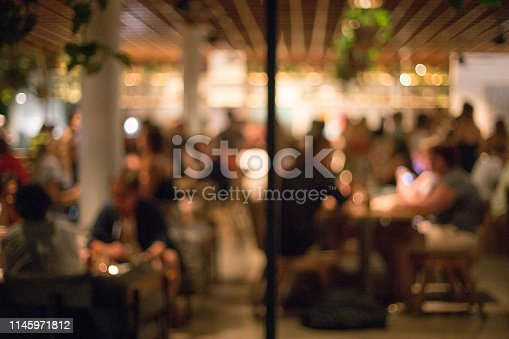 613897214istockphoto Blurred background of many people had fun at a beach party. 1145971812