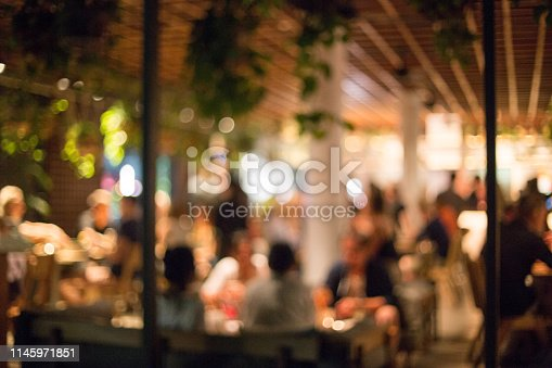 613897214istockphoto Blurred background of many people had fun at a beach party. 1145971851