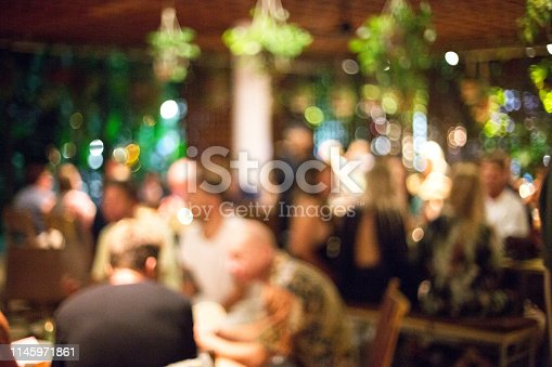 613897214istockphoto Blurred background of many people had fun at a beach party. 1145971861