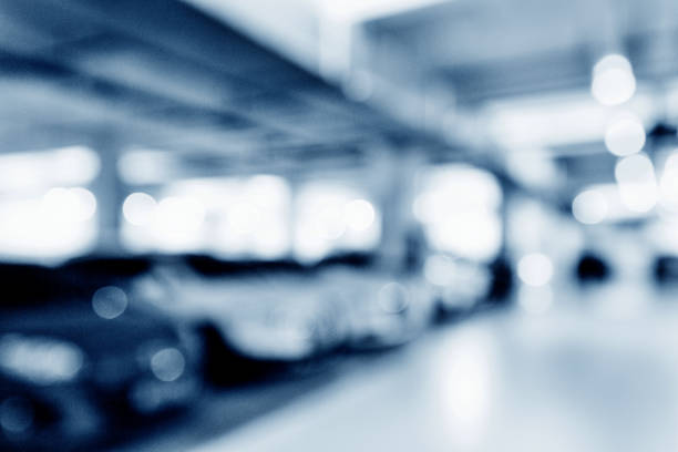 blurred background of parking lot - fundo oficina imagens e fotografias de stock