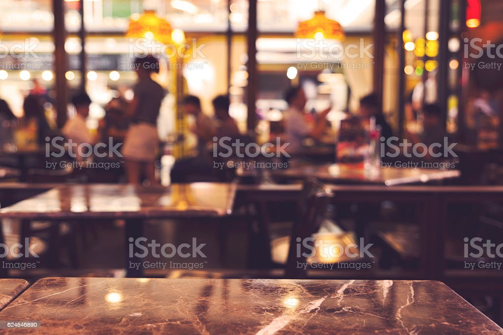 blurred background of restaurant interior stock photo