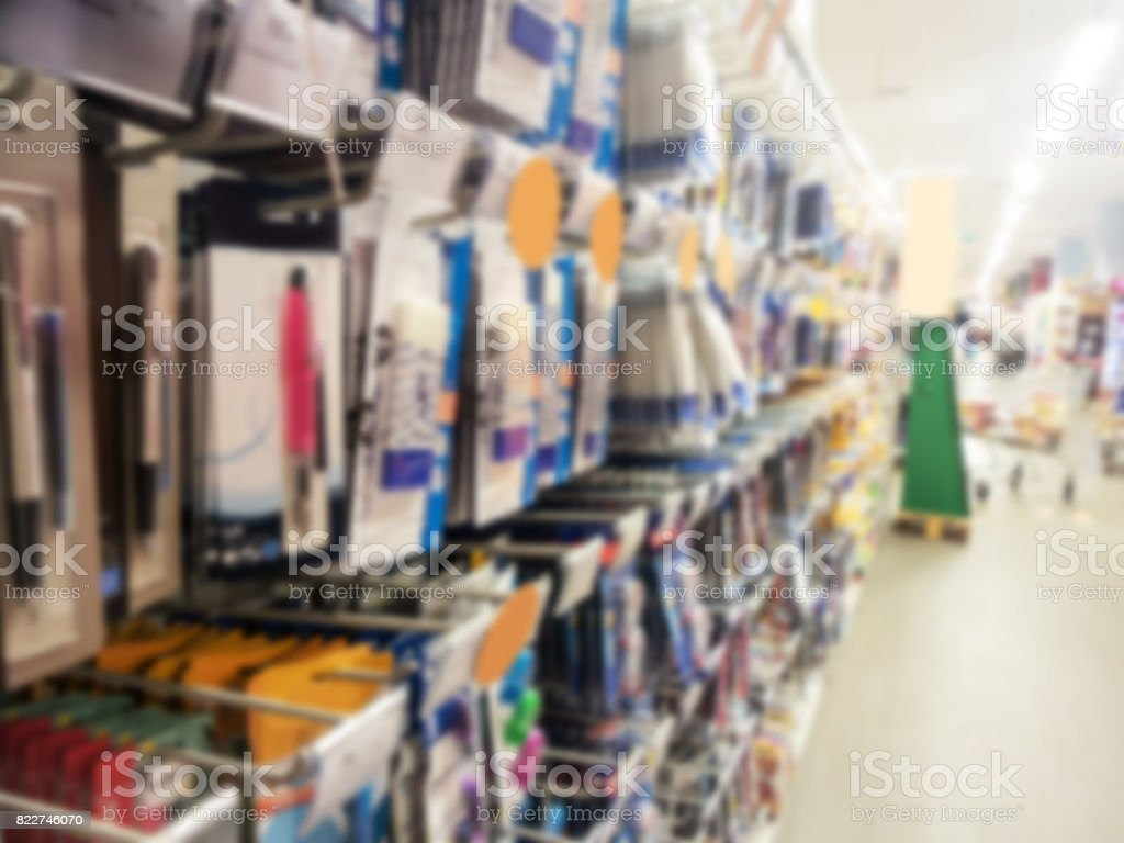 Blurred background of school supplies in a supermarket, back to school concept stock photo