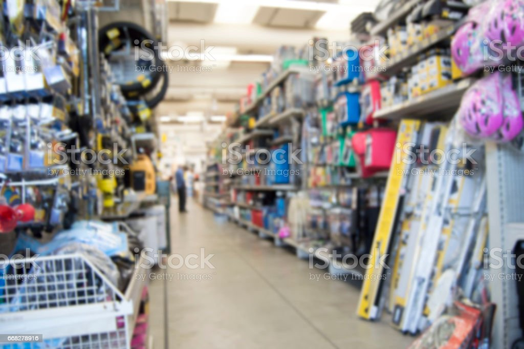 blurred background of the hardware store stock photo