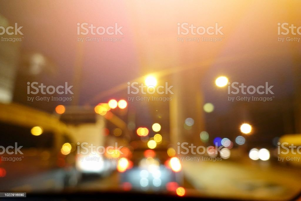 Blurred Background Of Traffic Jam Night Light Bokeh Light In