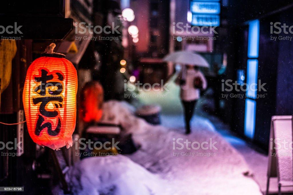 unscharfen Hintergrund der Frau zu Fuß Amon Schnee fallen – Foto