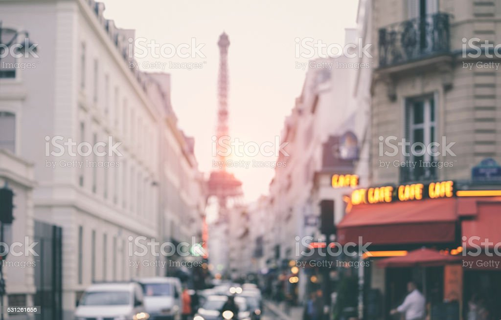Blurred background. Parisian street with Eiffel Tower in perspective (France) stock photo