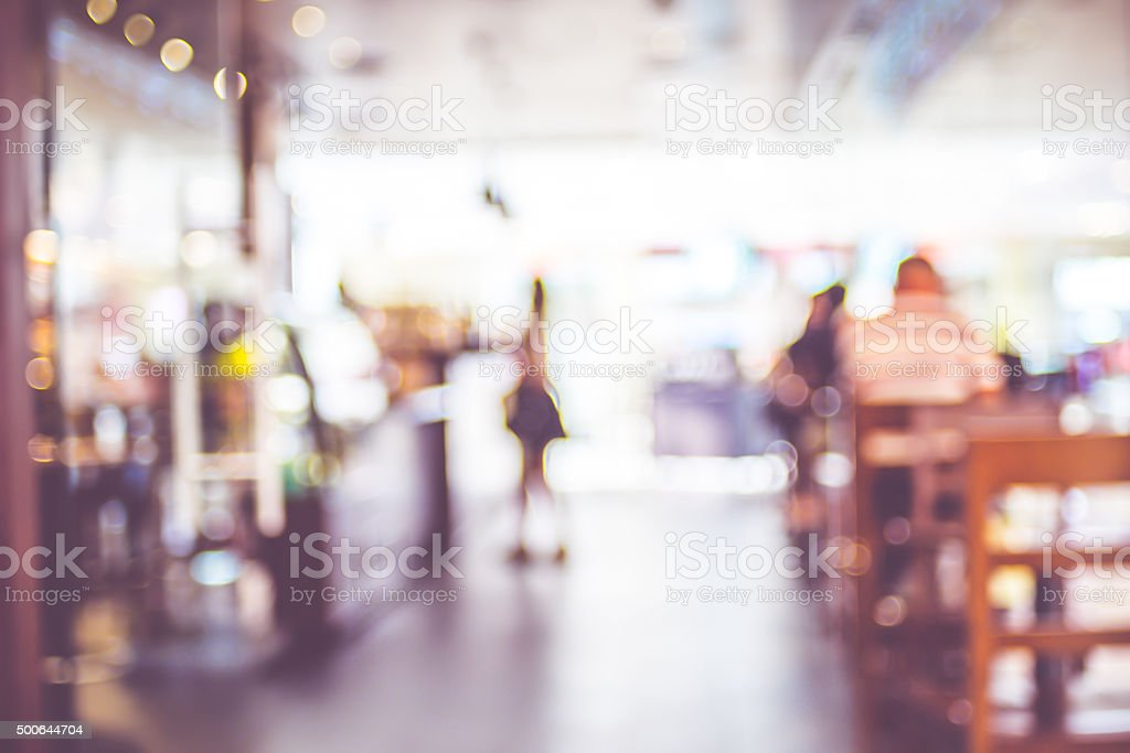 Blurred background : People in Coffee shop blur background with stock photo