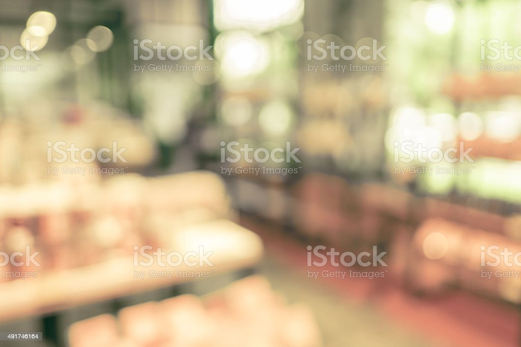 Blurred background : Product on shelf at Bakery shop stock photo