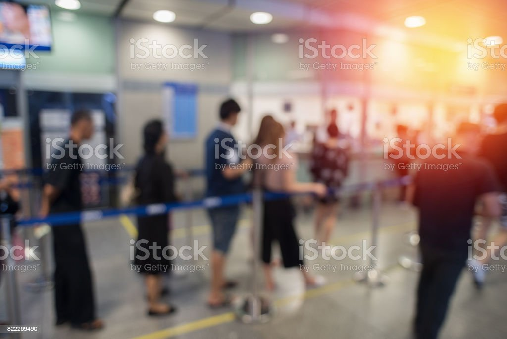 Blurred background queue. stock photo