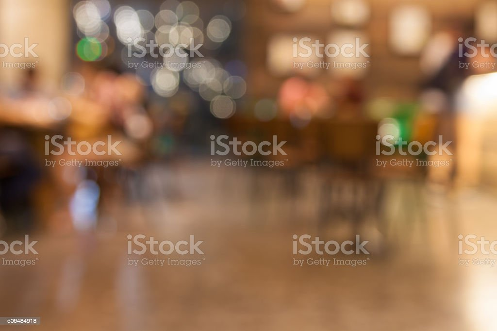 Blurred background – urban scene – cafe – restaurant stock photo