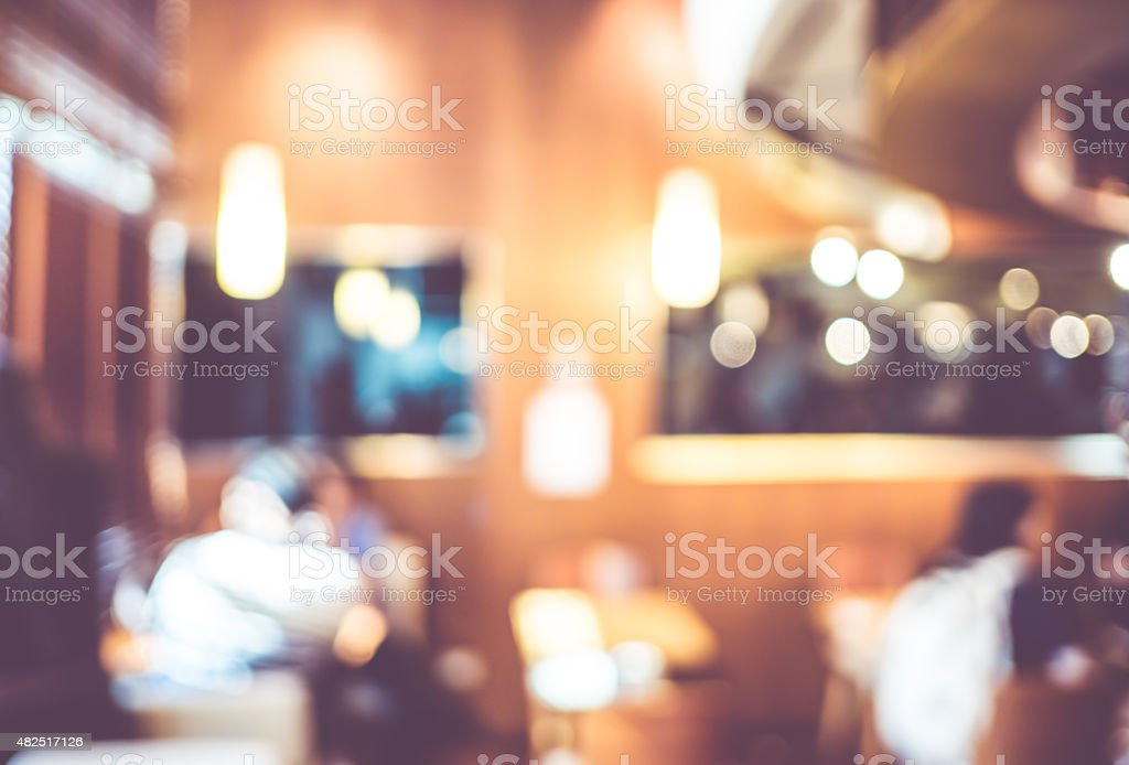 Blurred background : Vintage filter Customer in Coffee shop blur stock photo