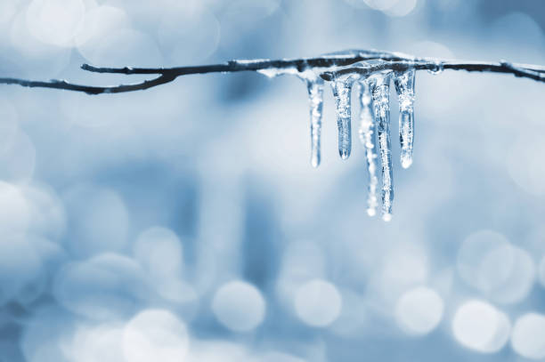 Blurred background with icicles stock photo