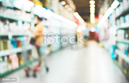 1072974214 istock photo Blurred background,Customer shopping at Supermarket store blur b 509681584