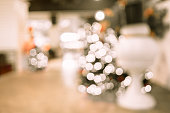 Blurred background,Group of christmas tree decoration with bokeh light,Holiday concept