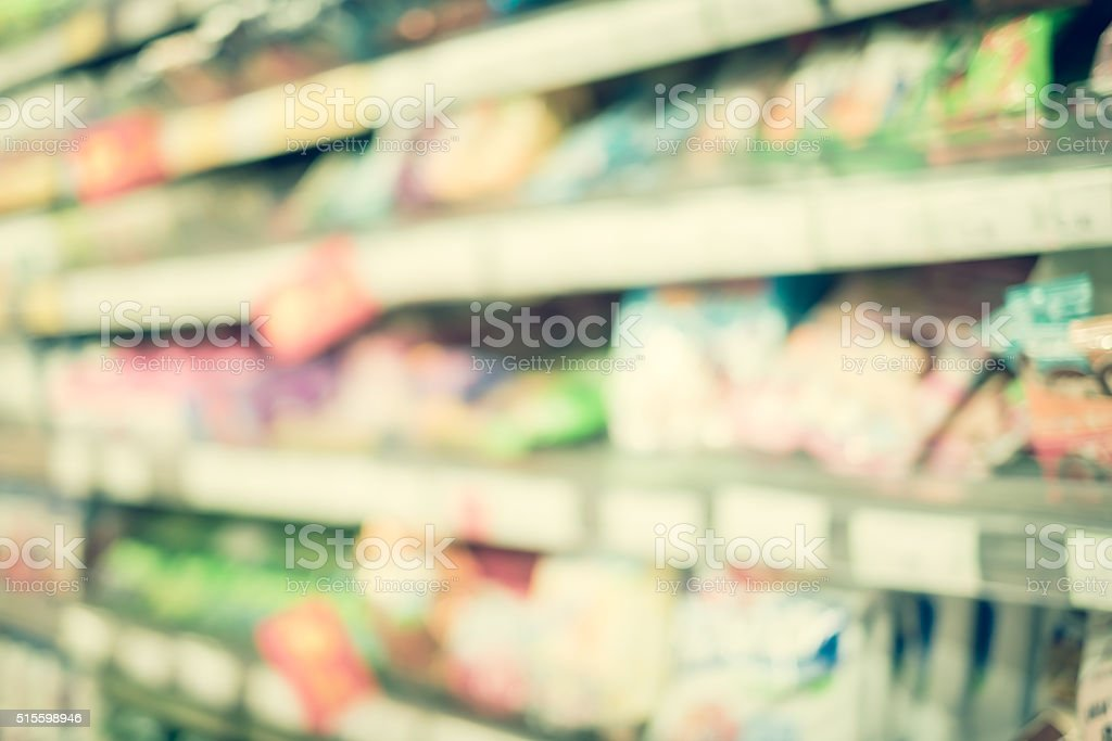 Blurred background,Product on shelves in supermarket with bokeh light.
