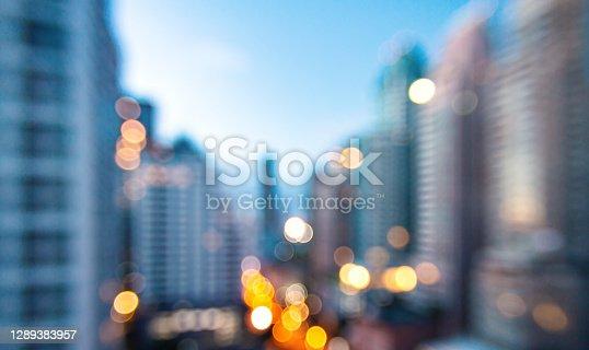 istock Blurred Bangkok city night background 1289383957