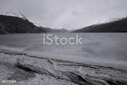 istock Blurred bay of water - long exposure Ushuaia landscape - Tierra Del fuego, Argentina 941171494