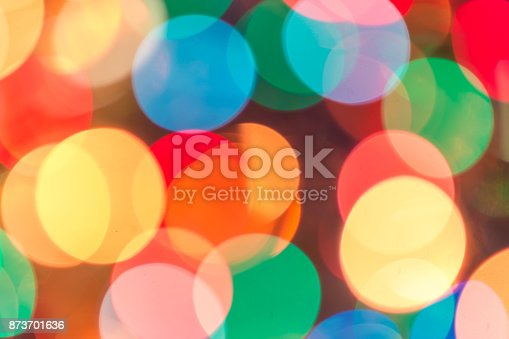 Blurred bokeh christmas lights with New Year ornaments in warm tone background