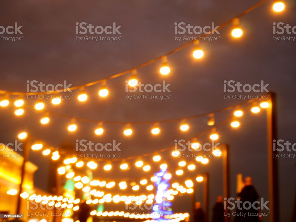Blurred bokeh decorative light bulbs stock photo