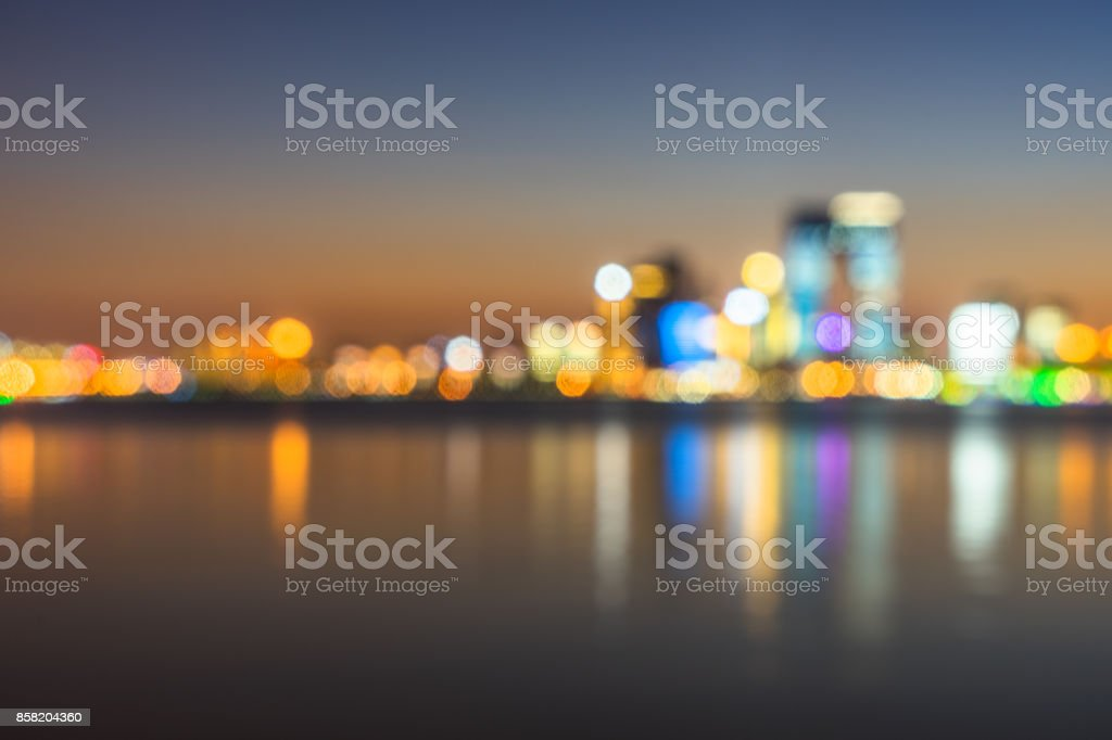 Blurred bokeh light of city downtown stock photo