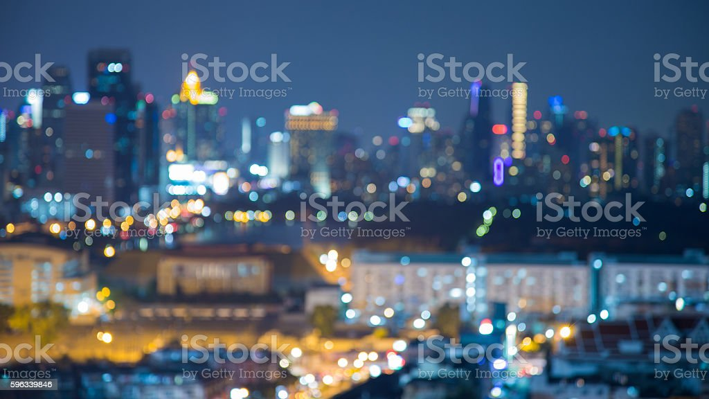 Blurred bokeh lights cityscape downtown night view royalty-free stock photo