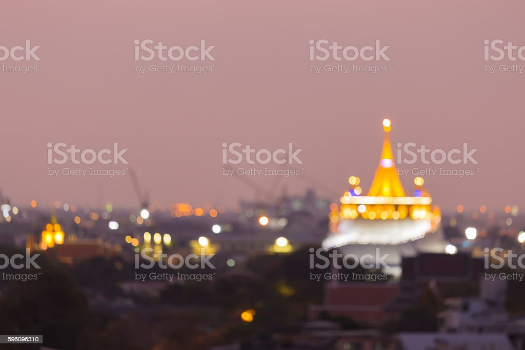Blurred bokeh lights, Golden mountain Temple royalty-free stock photo
