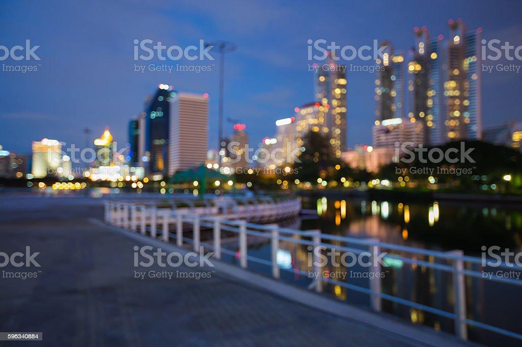 Blurred bokeh lights night view, city building i Lizenzfreies stock-foto