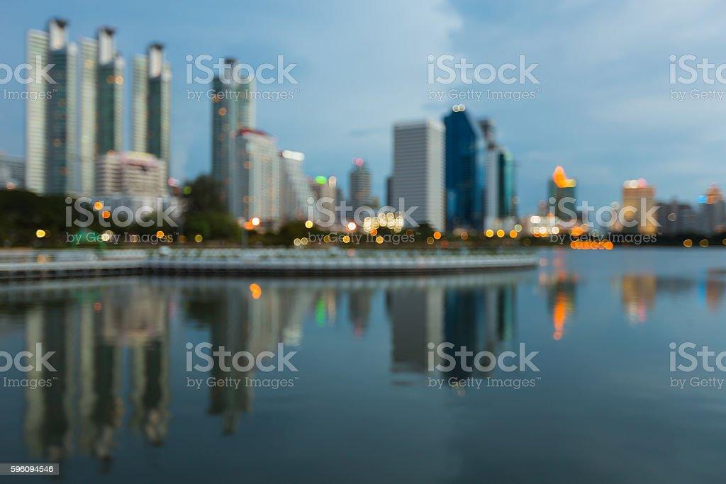 Blurred bokeh lights night view, city building Lizenzfreies stock-foto