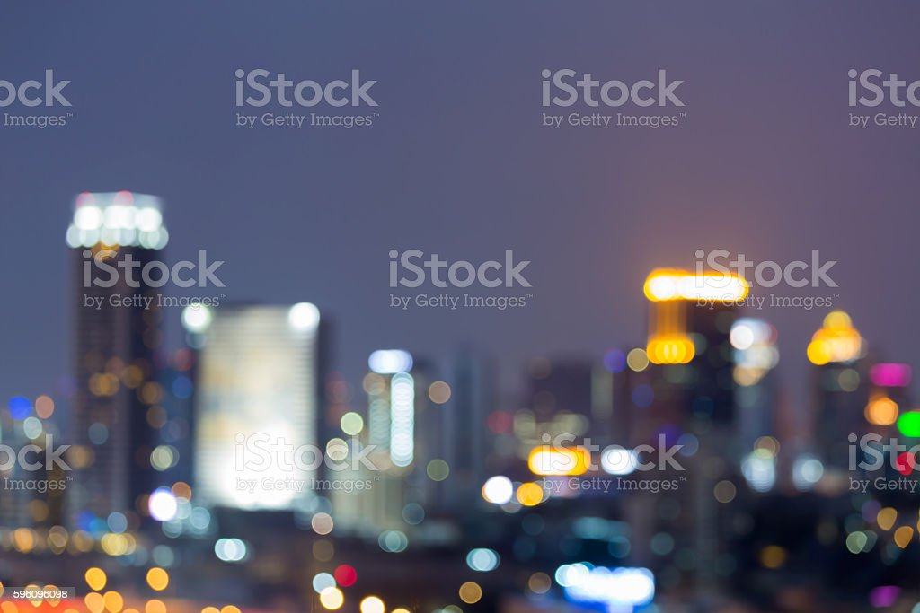 Blurred bokeh lights office building downtown night view royalty-free stock photo