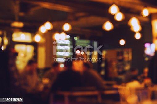 istock Blurred bokeh of the bar interior. 1180418289