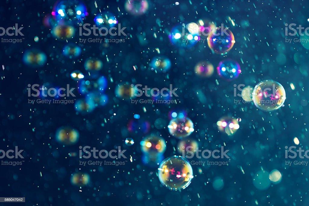 Blurred bokeh soap bubbles stock photo