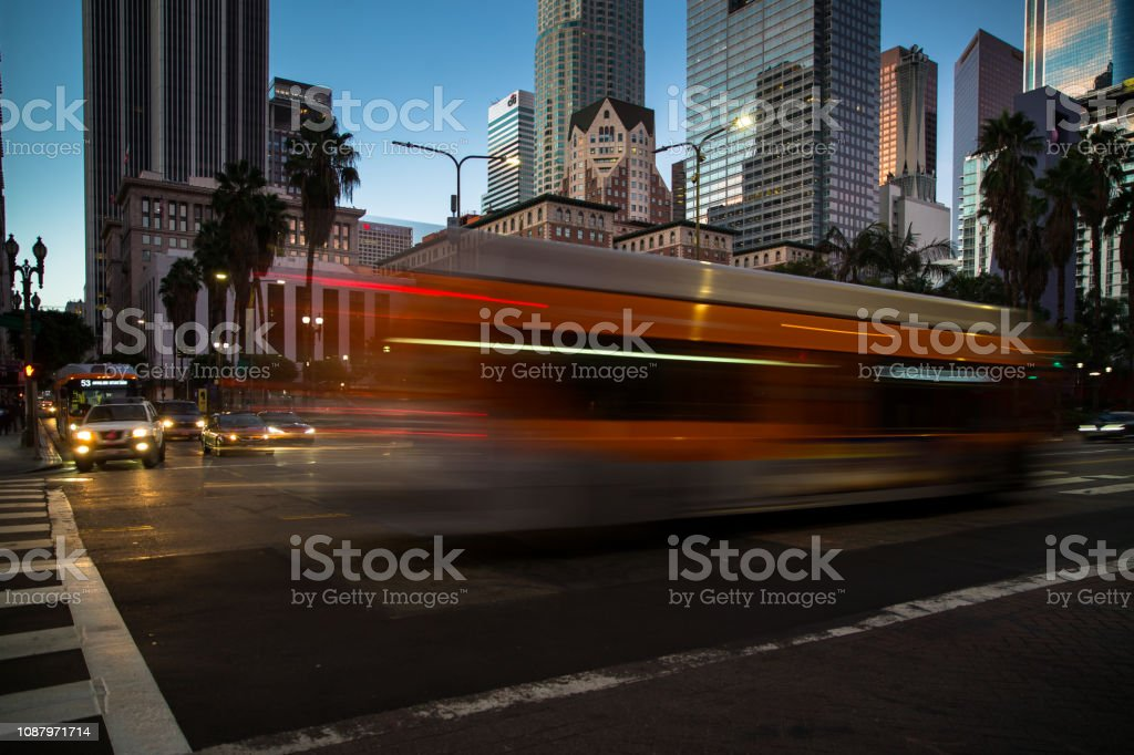 Blurred Bus Passing Pershing Square, Los Angeles stock photo