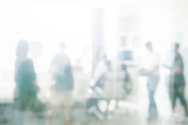 blurred business people meeting in office interior with space for business brainstorming background design - office background imagens e fotografias de stock