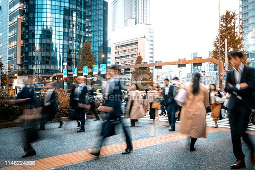 1146224410istockphoto Blurred business people on their way from work 1146224396