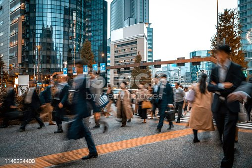 1146224410istockphoto Blurred business people on their way from work 1146224400