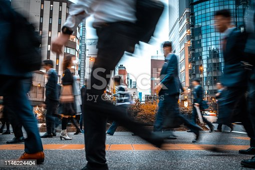 1146224410istockphoto Blurred business people on their way from work 1146224404