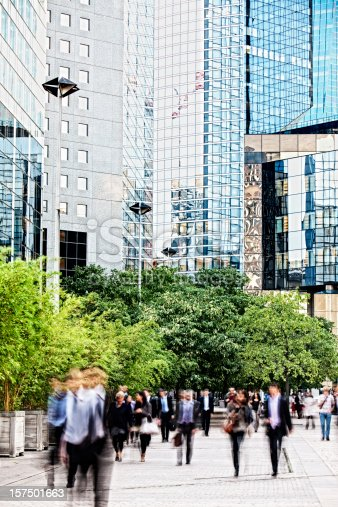 istock Blurred business people walking in a financial district 157501663