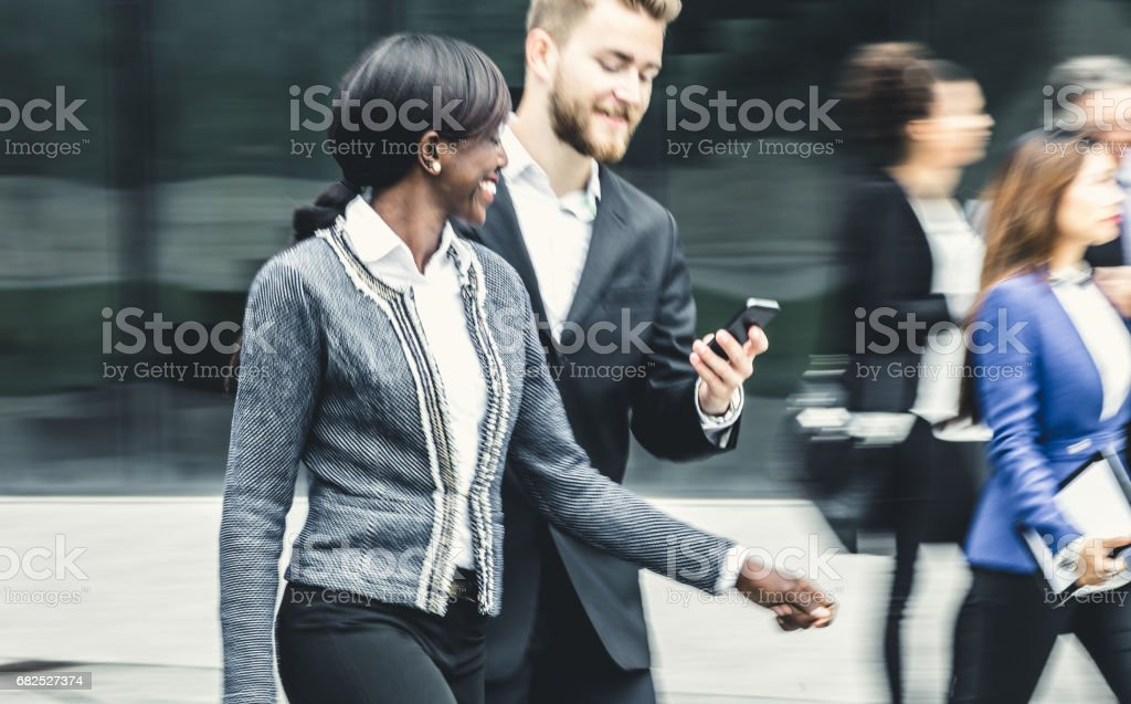 Blurred Business People walking in the Street stock photo