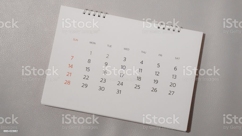 Blurred calendar in planning concept. stock photo