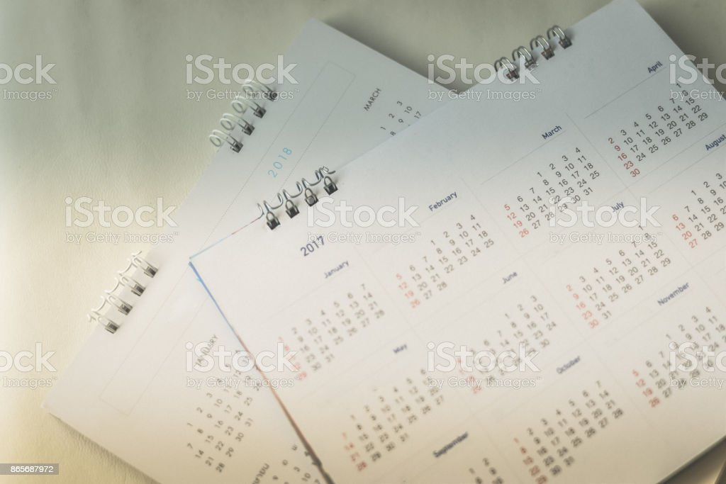 Blurred calendar planning concept in dark tone. stock photo