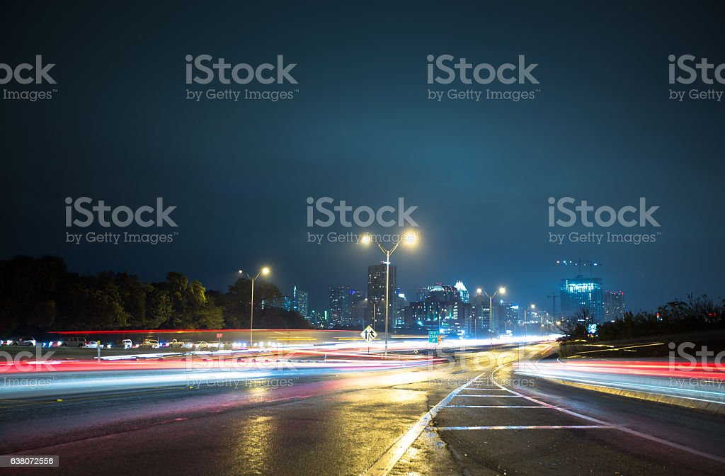Blurred Car Lights Arriving in Austin, Texas stock photo