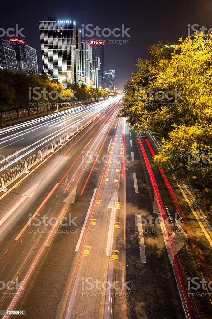 blurred car lights at night in Beijing stock photo