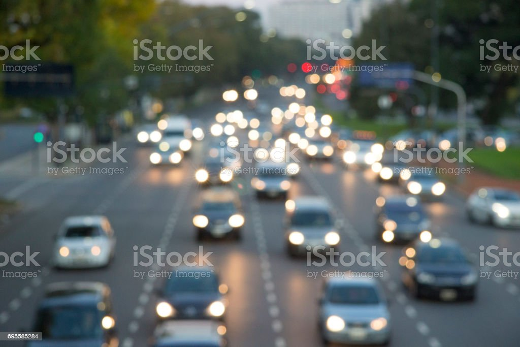 Blurred cars on highway. Buenos Aires, Argentina stock photo