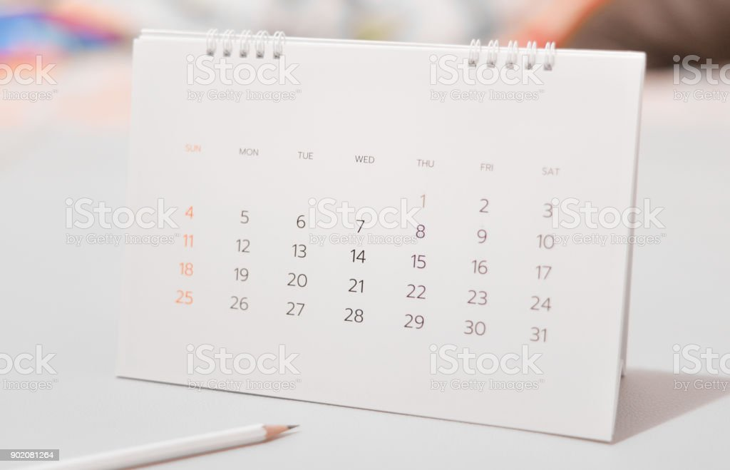 Blurred celandar in white tone. stock photo