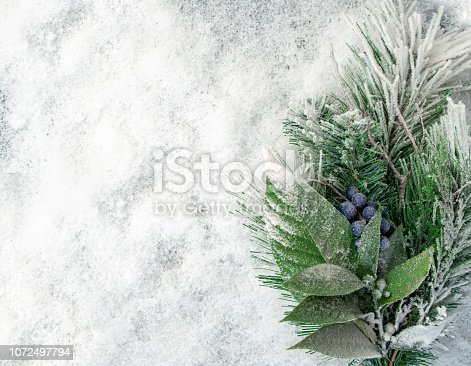 istock Blurred christmas tree, snow, christmas, light background. 1072497794