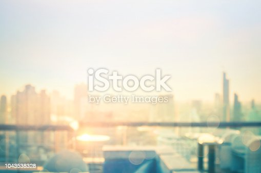 Blurred table restaurant with beautiful city view at twilight scene background